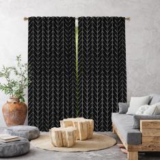 Herringbone Boho Pattern Single Panel Curtain-Black