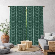 Herringbone Boho Pattern Single Panel Curtain-Green