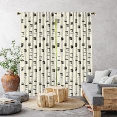 Bohemian Brush Strokes Single Panel Curtain-Ecru