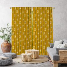 Bohemian Brush Strokes Single Panel Curtain-Mustard Yellow