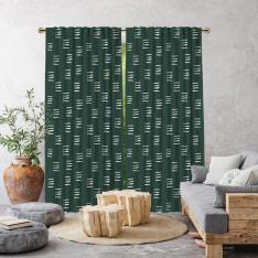 Bohemian Brush Strokes Single Panel Curtain-Green