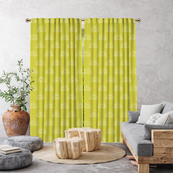 Boho Gökkuşağı Desenli Tek Kanat Perde-Limon Sarısı