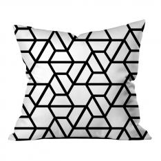 Hexagonal Pattern Pillow-White