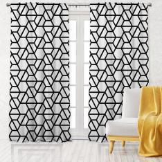 Hexagonal Pattern Single Panel Decorative Curtain-White
