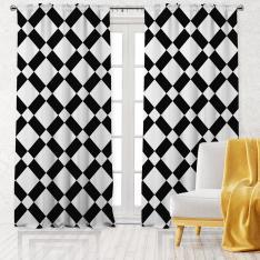 Çapraz Şerit Desen Tek Kanat Fon Perde-Siyah/Beyaz
