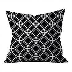 Çember Geometrik Desen Kırlent-Siyah