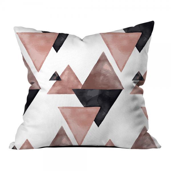 Dekoratif Üçgenler Desen Kırlent-Pink