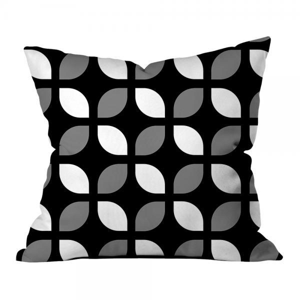 Geometrik Çiçeksi Desen Kırlent-Siyah