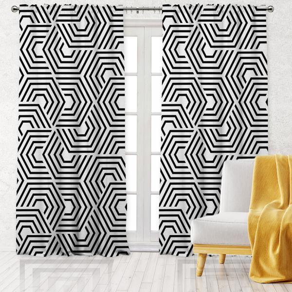 Hipnotik Geometrik Desen Tek Kanat Fon Perde-Beyaz