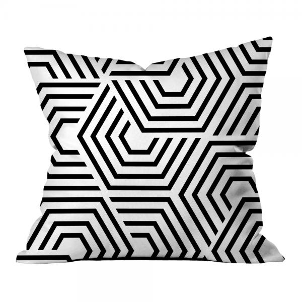 Hipnotik Geometrik Kırlent-Beyaz