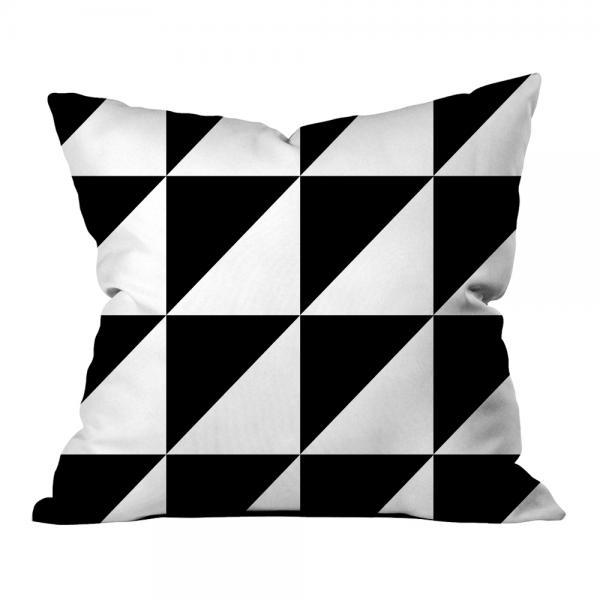 Kontrast Geometrik Desen Kırlent-Beyaz
