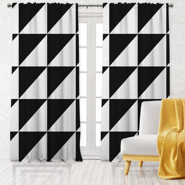 Kontrast Geometrik Desen Tek Kanat Fon Perde-Beyaz