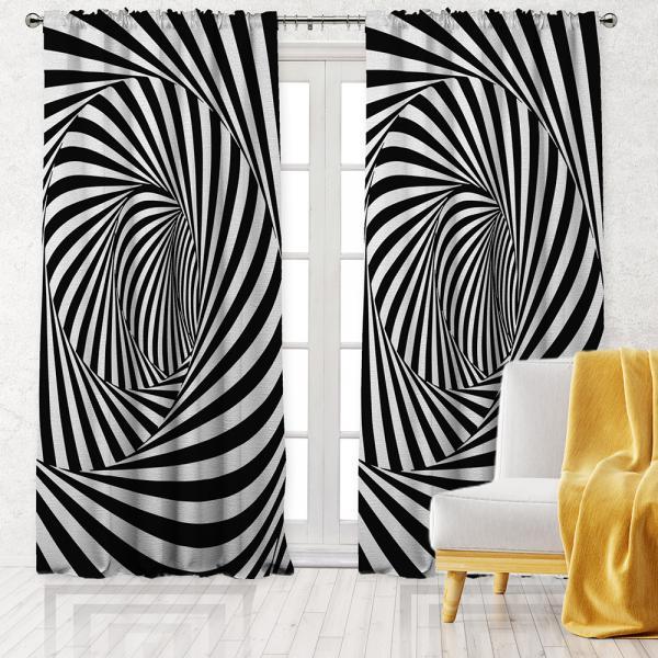 Optik İllüzyon Desen Tek Kanat Fon Perde-Siyah/Beyaz
