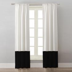 Beyaz/Siyah İki Renkli ''Tek Kanat'' Fon Perde